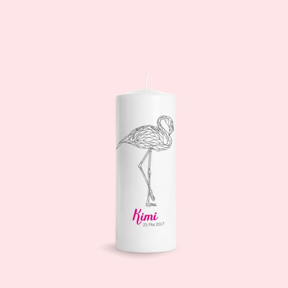 Taufkerze Geometric Flamingo