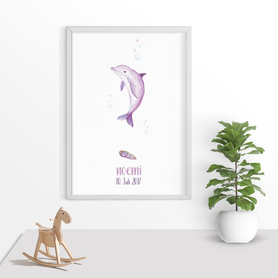 Taufkerze Delfin