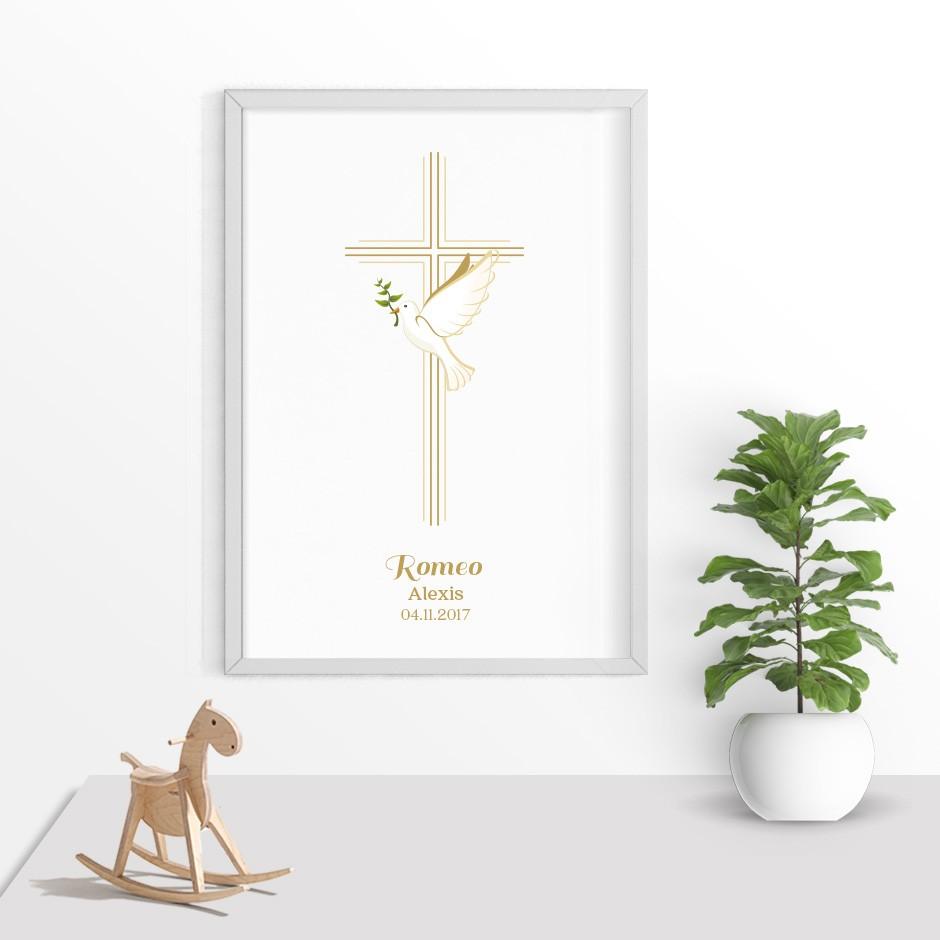 Taufkerze Kreuz und Taube