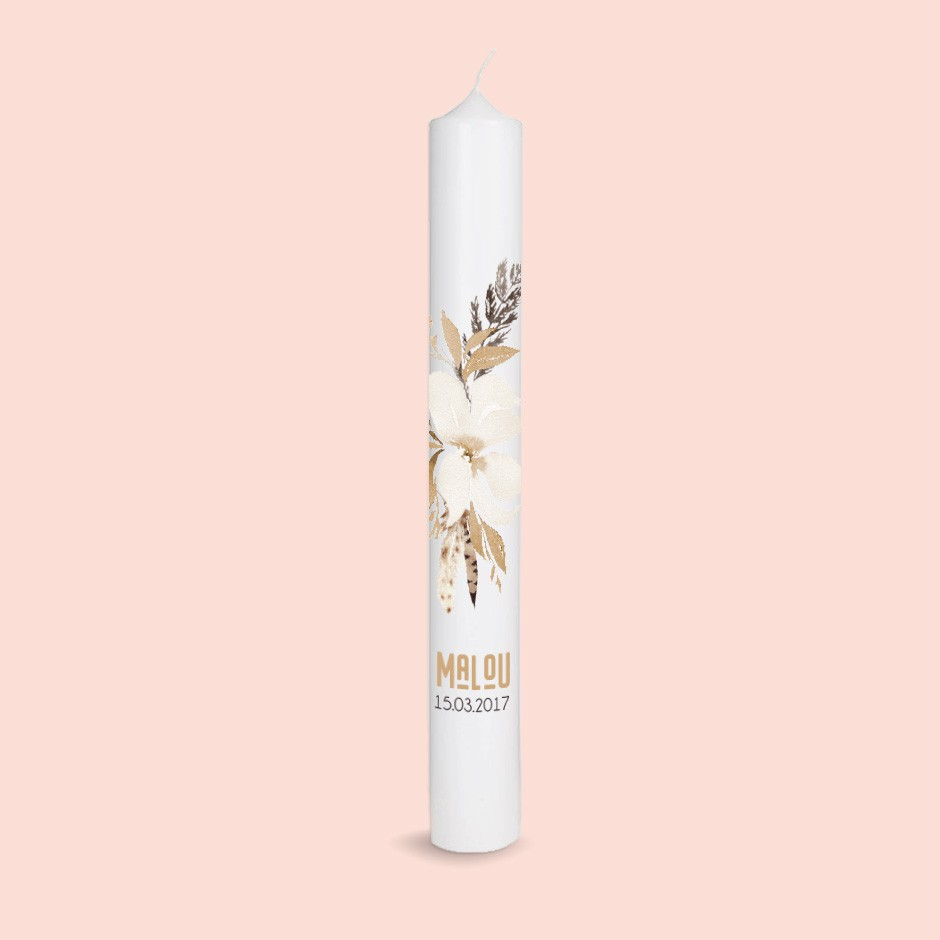 Taufkerze Elegant Flower