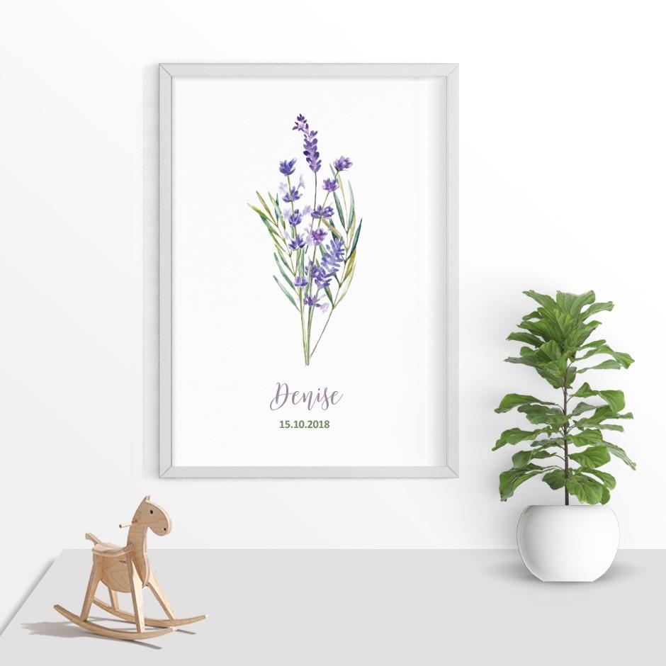 Taufkerze Lavendel