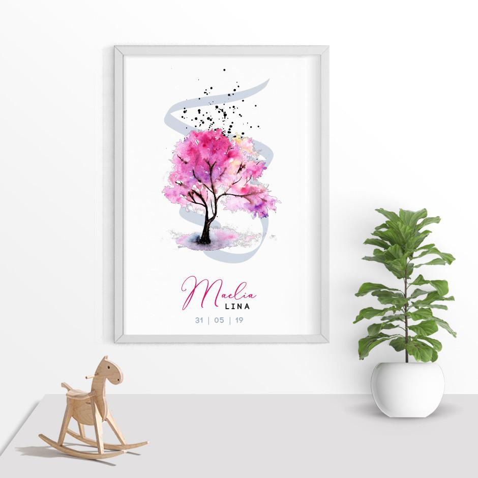 Taufkerze Lebensbaum Watercolor