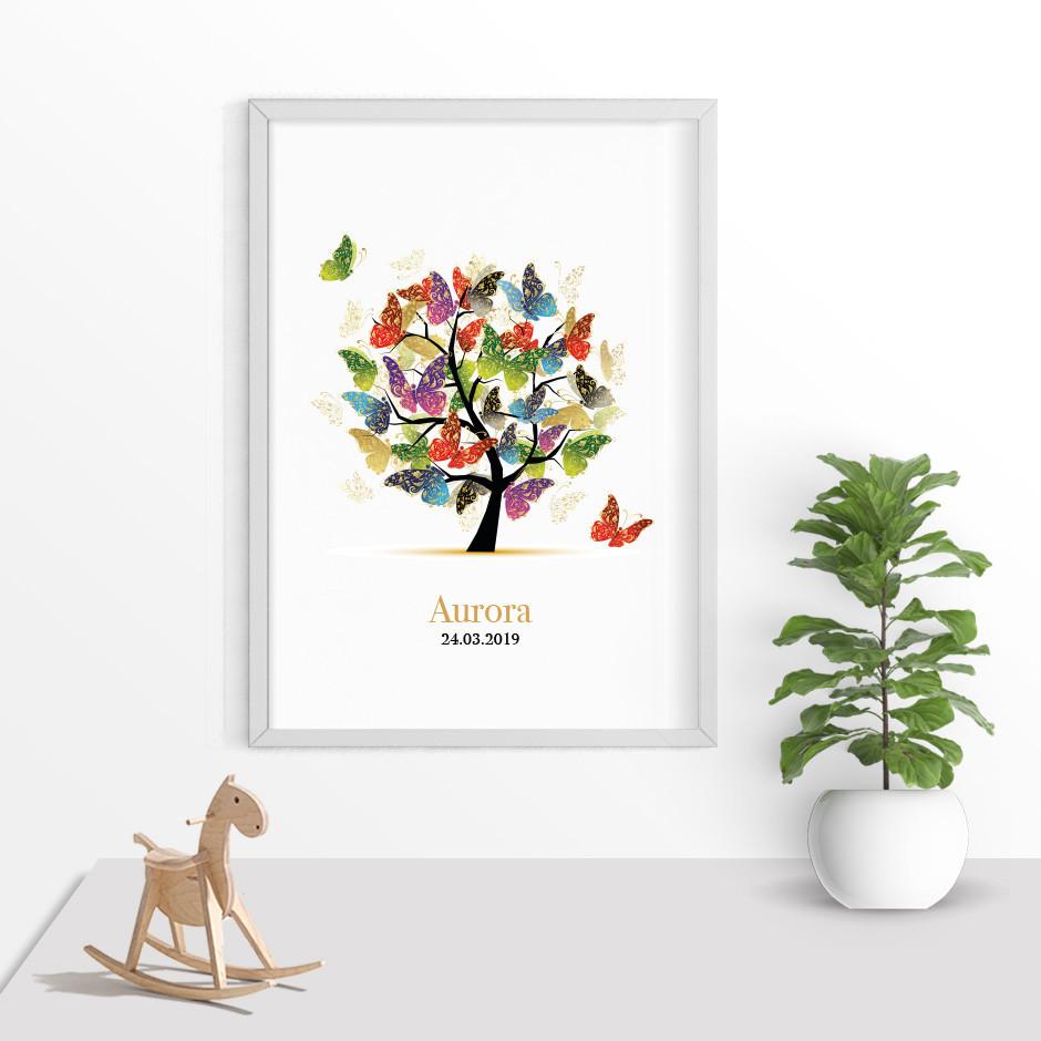 Taufkerze Lebensbaum Schmetterlinge