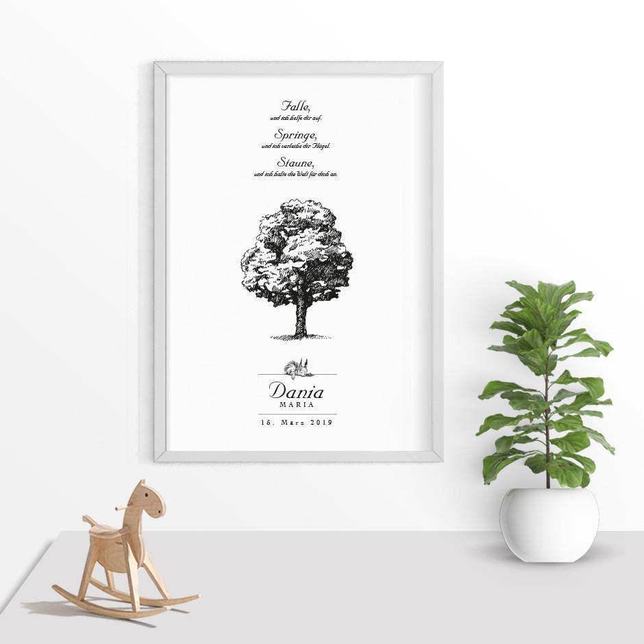 Taufkerze Lebensbaum Eichhörnchen
