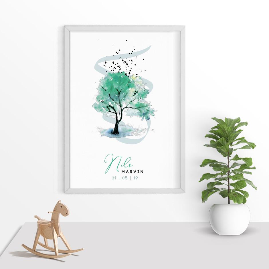 Taufkerze Lebensbaum Watercolor grün