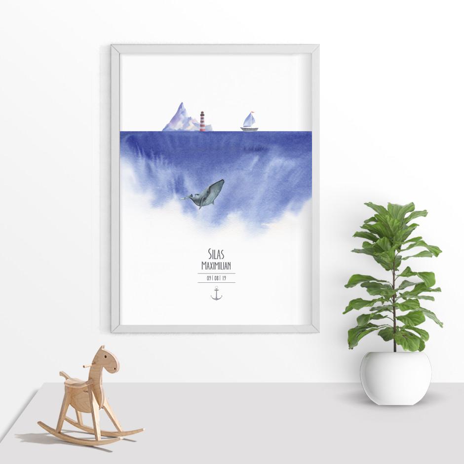Taufkerze Maritim Wal