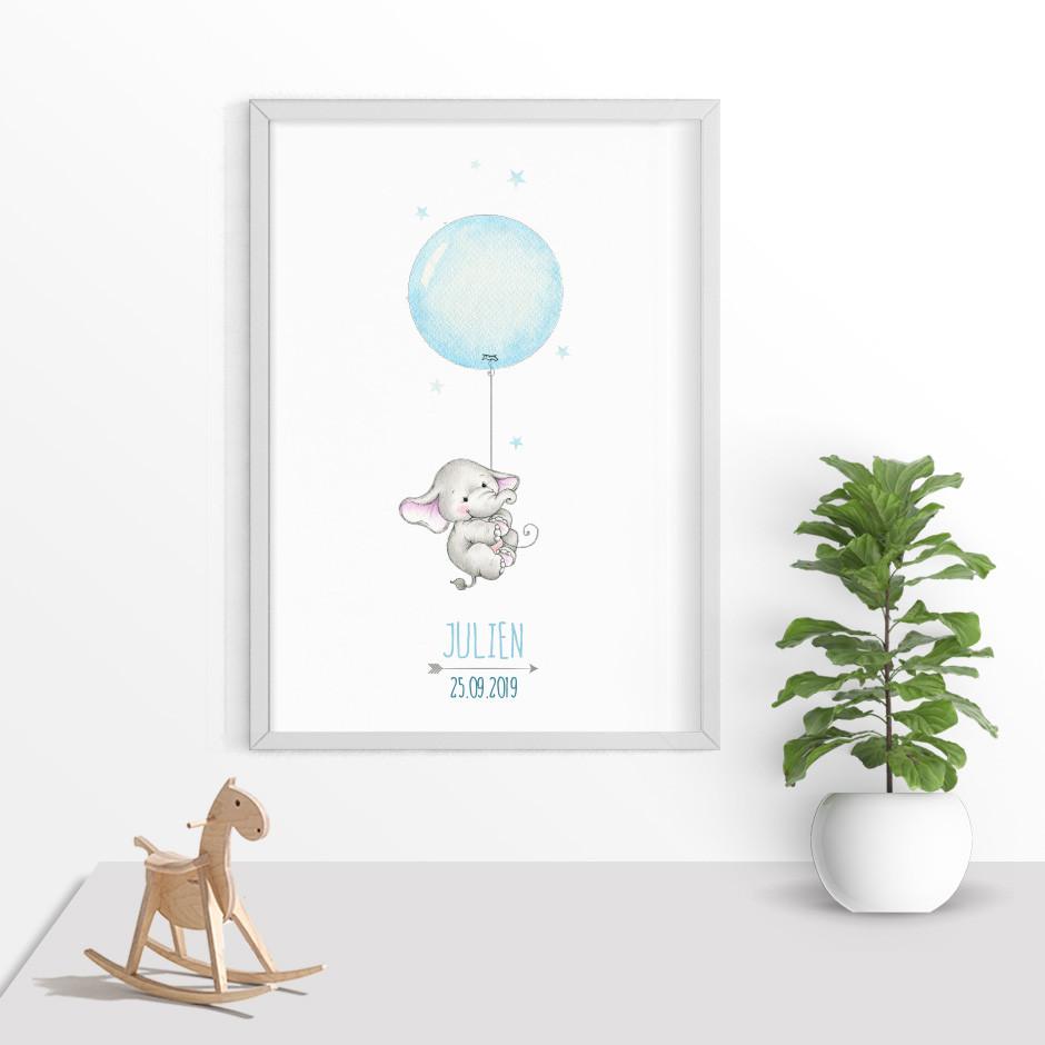 Taufkerze Elefant mit Ballon