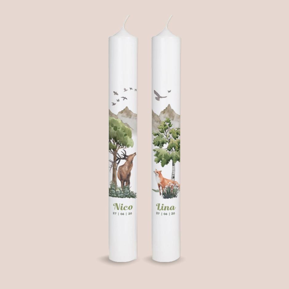 Zwillingskerzen Waldtiere
