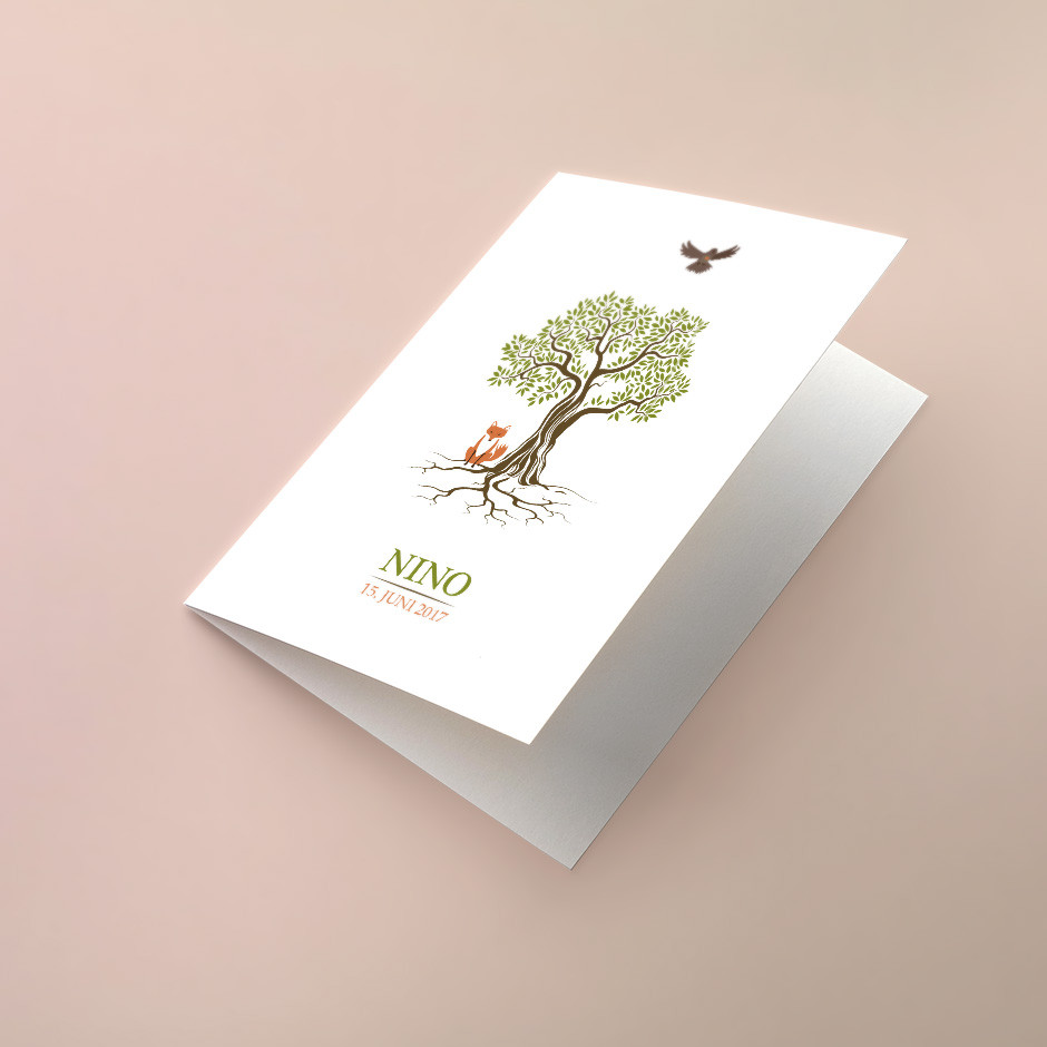 Klappkarte knorriger Lebensbaum Fuchs