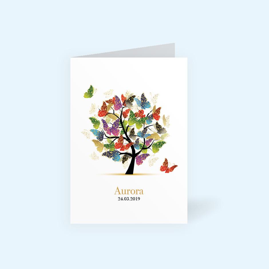 Klappkarte Lebensbaum Schmetterlinge
