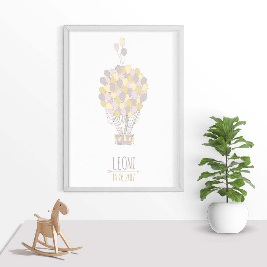 Taufkerze Luftballon Gelb